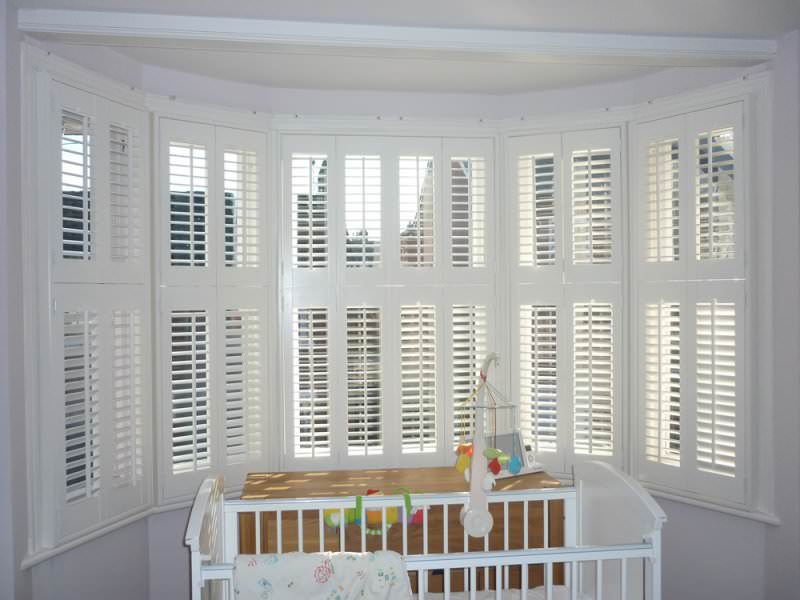 Bay window shutters shuttersouth southampton Are plantation shutters still in style 2017
