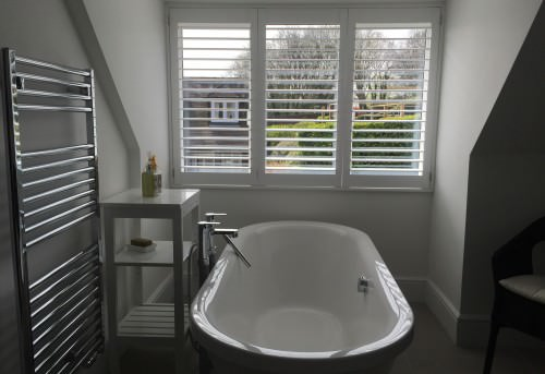 Full Height Bathroom Plantation Shutters Fitted in Hamble
