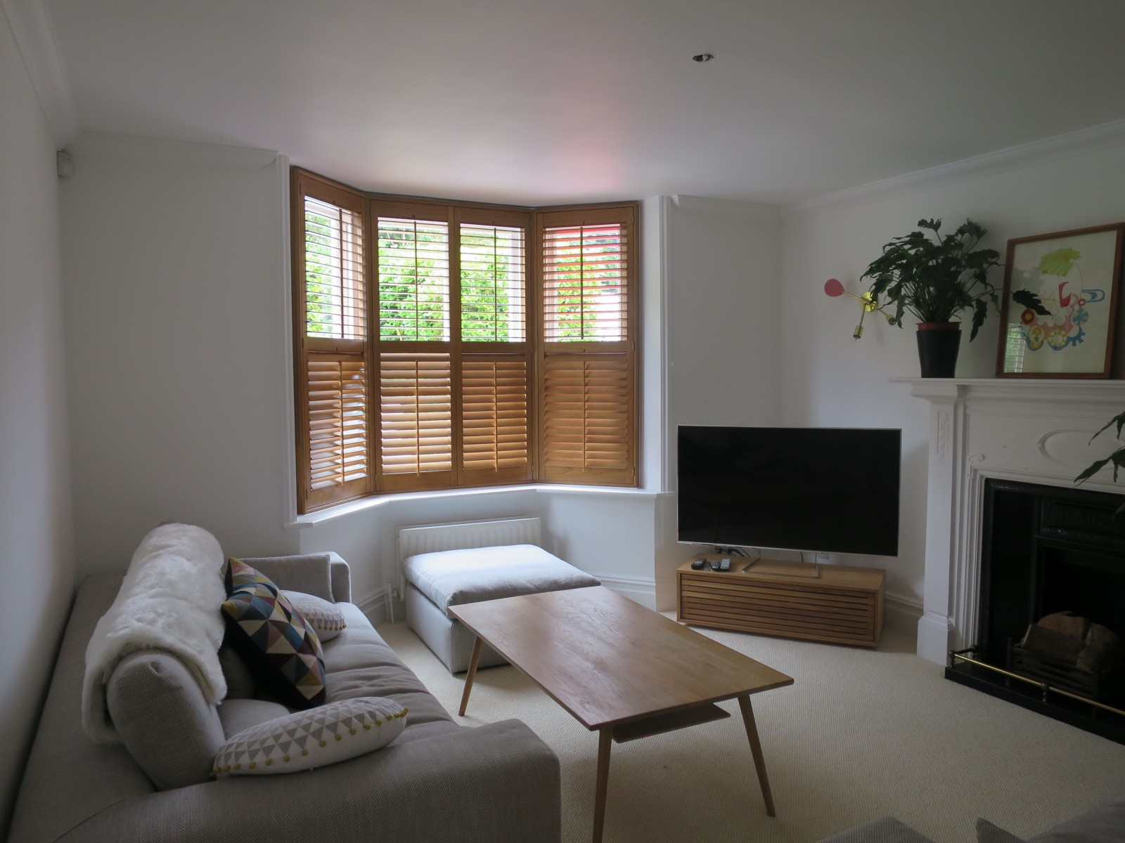 Living Room Bay Window Shutters - Bishops Waltham