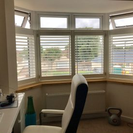 Cafe Style Shutters for Office Bay Windows in Southampton - Shuttersouth