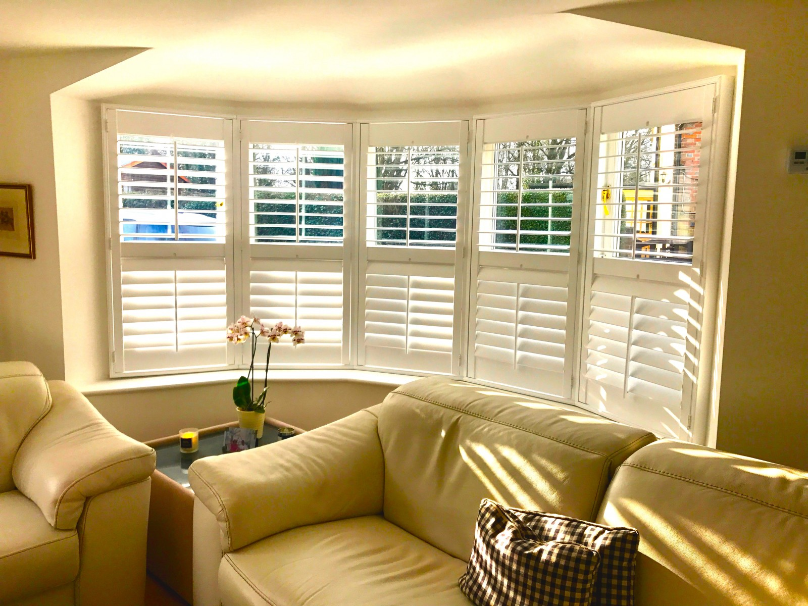 Bay Window Shutters Fitted In Lymington Living Room