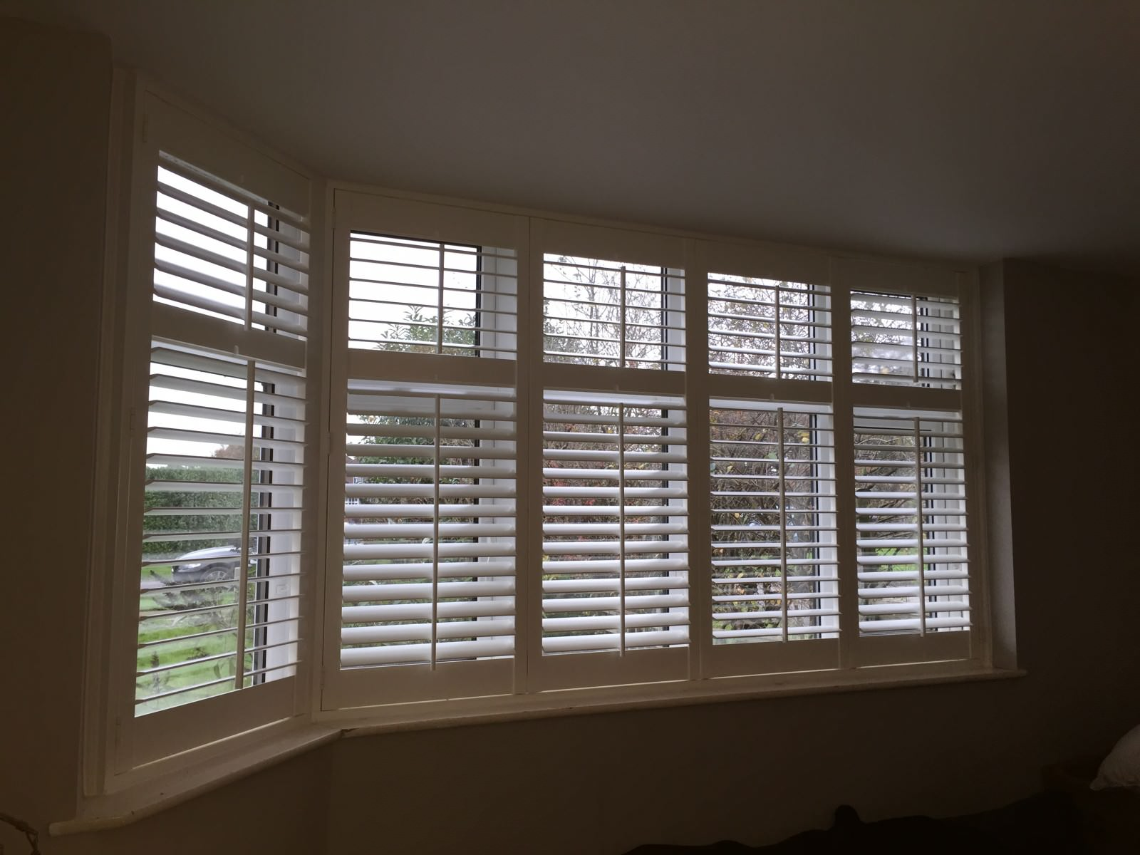 Bay window shutters fitted in guildford shuttersouth for 12 window shutters
