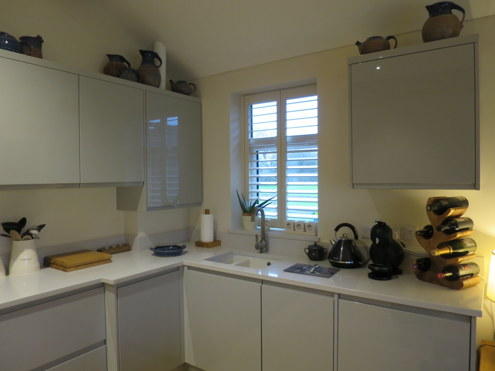 Tracked Plantation Kitchen Shutters Fitted in Bishops Waltham - Shuttersouth