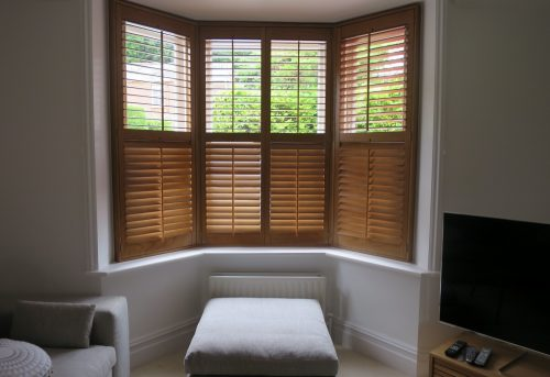 Winchester Hardwood Bay Window Shutters - Living Room