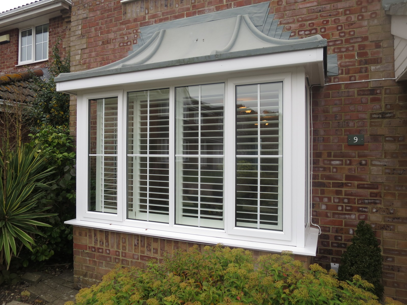 Bay window shutters - Square Bay Window Shutters Fitted In Lymington Shuttersouth