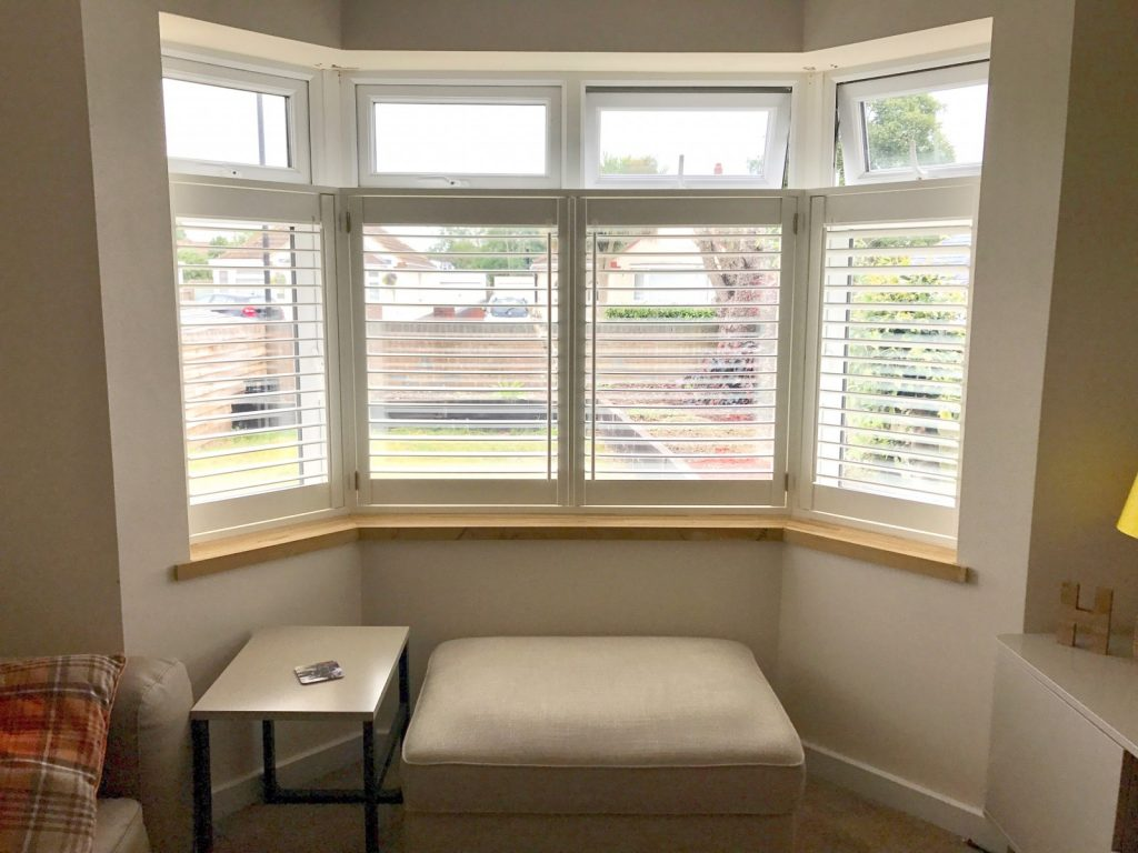 Cafe Style Shutters for Two Bay Windows in Southampton - Shuttersouth
